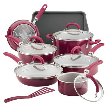 Rachael Ray13 Pc Create Delicious Aluminum Nonstick Cookware Set, Burgundy Shimmer