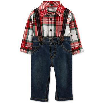 Carter's Baby Boys 3-Pc. Plaid Shirt, Jeans & Suspenders Set