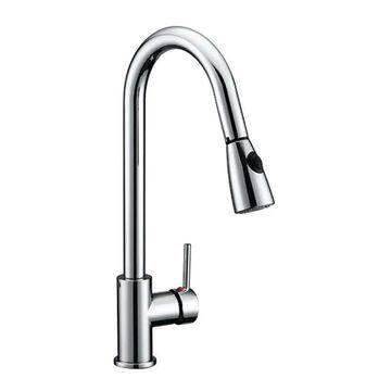 Design House Eastport Polished Chrome 1-Handle Deck-Mount High-Arc Handle Kitchen Faucet | 547869