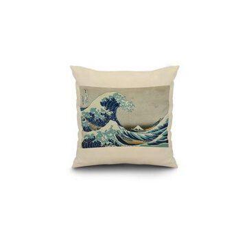 The Great Wave off Kanagawa - Masterpiece Classic - Artist: Katsushika Hokusai c. 1826 (16x16 Spun Polyester Pillow, White Border)
