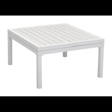 Zuo Modern 703893 Santorini Adjustable Outdoor Coffee Table with Fold Out Sides White Outdoor Furniture Tables Coffee