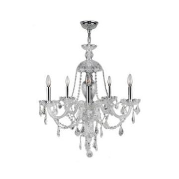Worldwide Lighting Provence 5-Light Chrome Finish and Clear Crystal Chandelier
