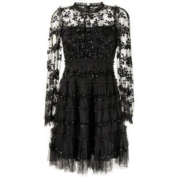 lace-panel long-sleeve dress