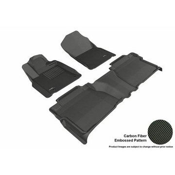 3D MAXpider 2012-2013 Toyota Tundra Double Cab Front & Second Row Set All Weather Floor Liners in Black with Carbon Fiber Look