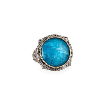 New World Round Apatite Doublet Ring, Size 6.5 & 7