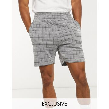 Jack & Jones Premium two-piece shorts in gray check Exclusive at ASOS