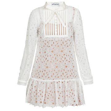 self-portrait Guipure Lace Bib Detail Mini Dress