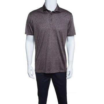 Ermenegildo Zegna Brown and White Silk Polo T-Shirt M