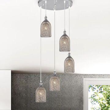 Lilah Silver 5-Light Metal Bell Shades Cluster Cylinder Pendant Light