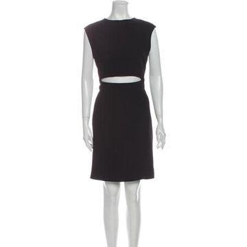 Bateau Neckline Knee-Length Dress Black