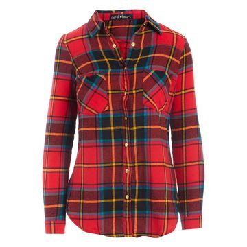 Derek Heart Women's Button Down Shirts CHINESE - Chinese Red Plaid Snap Button-Up Tunic - Juniors