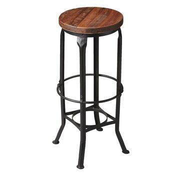 Handmade Abbott Iron and Wood Bar Stool (India) (Multi-Color)