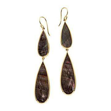 Ippolita 18K Yellow Gold Polished Rock Candy Black Shell Double Teardrop Earrings