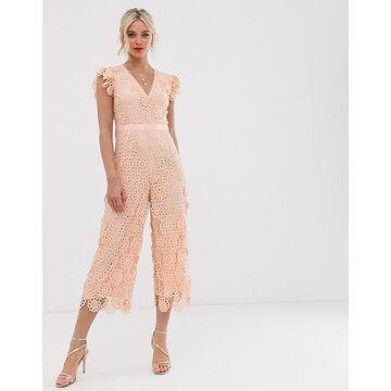 Miss Selfridge lace jumpsuit in pink