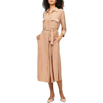 L'Agence Womens Rivi Shirtdress Midi Long Sleeve