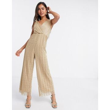 Liquorish plisse metallic jumpsuit in gold-Multi