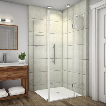 Aston Avalux GS 38-in x 38-in x 72-in Completely Frameless Shower Enclosure w. Glass Shelves in Chrome