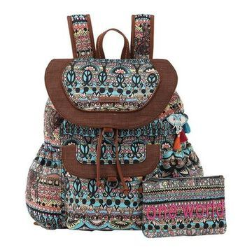 Sakroots Women's Artist Circle Flap Backpack Aqua One World - US Women's One Size (Size None)
