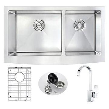 ANZZI Elysian Farmhouse 33 In. Double Bowl Kitchen Sink w/ Opus Faucet