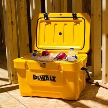 Dewalt 25 Quart Roto Molded Insulated Lunch Box Portable Drink Cooler, Yellow