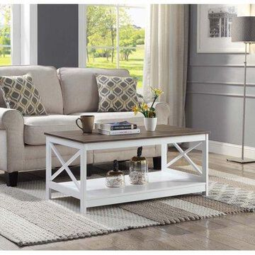 Convenience Concepts Oxford Coffee Table, Driftwood/White