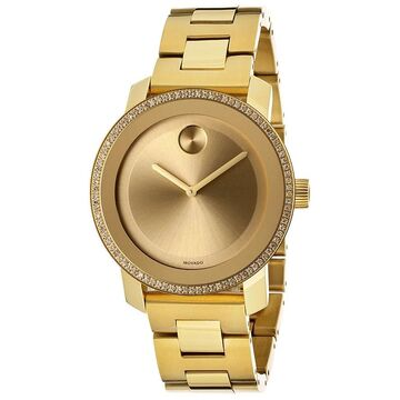 Movado Bold Women's 3600150 Diamond & Goldtone IP Stainless Steel Watch (30 Meters - Gold - 18mm Strap - Two Hand/Water Resistant - Gold - 36mm -