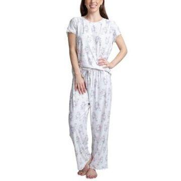 Muk Luks Lace-Trim Printed Pajama Set