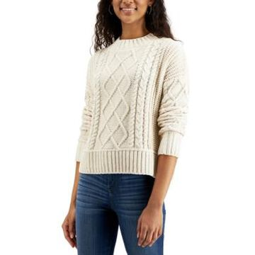 Hippie Rose Juniors' Chenille Cable-Knit Sweater