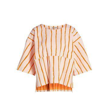 Issey Miyake Opal Stripe Tie-Sleeve Top