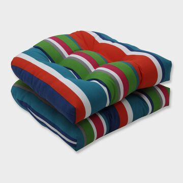 2pk St. Lucia Stripe Wicker Outdoor Seat Cushions Blue - Pillow Perfect
