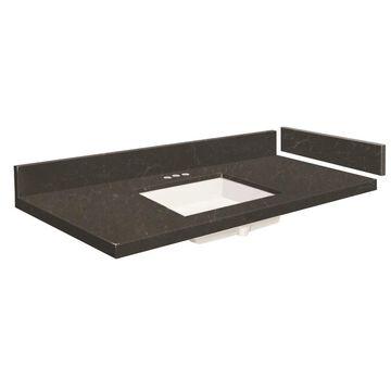 Transolid 37-in Black Carrara Quartz Single Sink Bathroom Vanity Top | VT37X22-1KU-6B-4