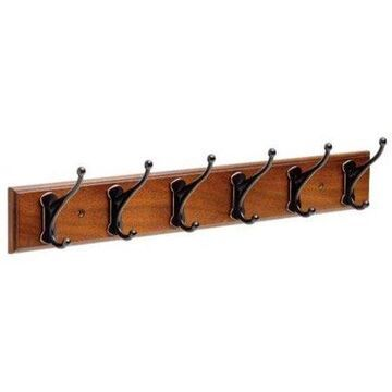 Franklin Brass 24 in. Rail with 6 Windom Hooks in Bark and Oil Rubbed Bronze
