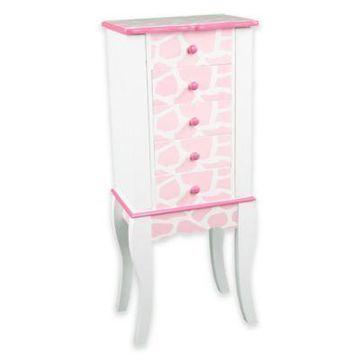 Teamson Kids Giraffe Print Jewelry Armoire in Pink/White