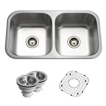 "Houzer BSD-3209 Belleo 32"" Drop In Double Basin Stainless Steel Kitchen Sink Stainless Steel Fixture Kitchen Sink Stainless Steel"