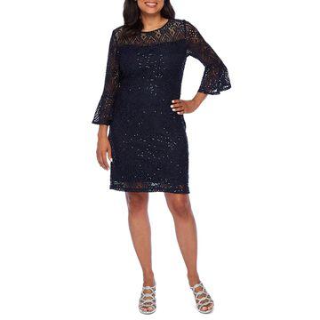 Ronni Nicole 3/4 Bell Sleeve Scroll Lace Shift Dress-Petite