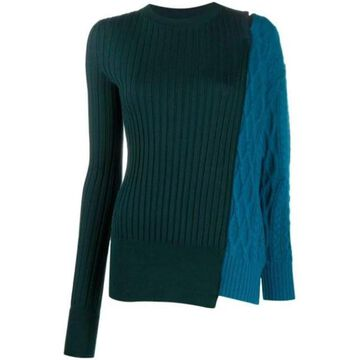 Sacai Paneled Wool Sweater With Cold Shoulder