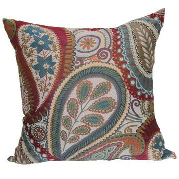 Brentwood Succulent Paisley Woven Throw Pillow