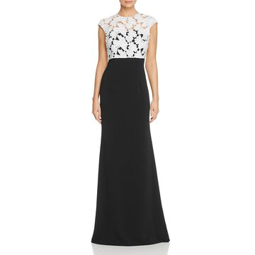 Carmen Marc Valvo Womens Lace Popover Evening Dress