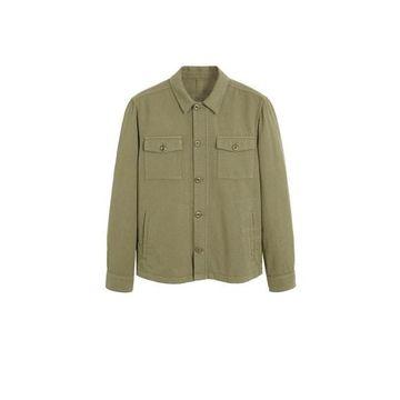 MANGO MAN - Pocket linen cotton jacket khaki - XS - Men