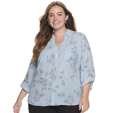 Juniors' Plus Size Candie's Roll-Tab Blouse