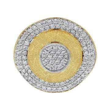 14k Two Tone 1ct Three Dimensional Textured Round Ring - White