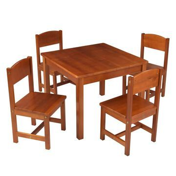 KidKraft Farmhouse Pecan Square Kid's Play Table (Set of 4 Chairs) in Brown | 21451