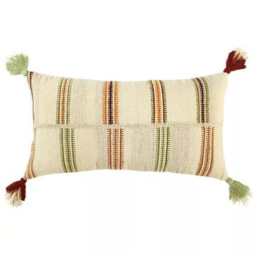 Rizzy Home Luam Down Fill Throw Pillow, White, 14X26