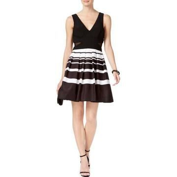 Xscape Womens Striped Sleeveless Party Dress