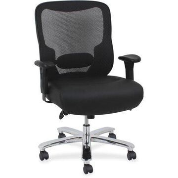 Lorell Big & Tall Mid-back Ergonomic Leather Task Chair, Mesh Back, with Arms