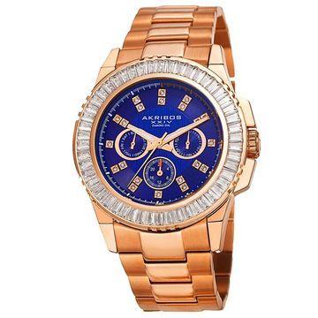 Akribos XXIV Men's Diamond Stainless Steel Rose-Tone Bracelet Watch - Blue (Rose-tone)