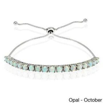 Glitzy Rocks Sterling Silver Birthstone Adjustable Slider Bracelet (October - White - Opal)