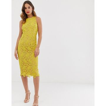 Little Mistress all over lace pencil midi dress-Yellow