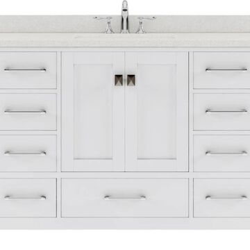 Virtu USA Caroline Avenue 48-in Single Bath Vanity in White with Dazzle White Top and Round Sink | GS-50048-DWQRO-WH-NM