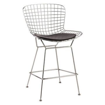 Fine Mod Imports Wire Counter Chair, Black